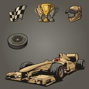 F1 Car sport set symbols. - stock illustration
