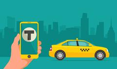 Hand phone with interface taxi on screen background the city. Piirros