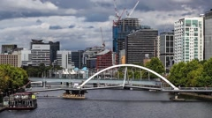 Southbank footbridge and Yarra closeup. Stock Footage