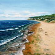 Ocean shore - stock illustration