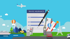 Travel Insurance for world travel, tour. air ticket. illustration animation. - stock footage