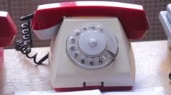 Vintage telephone on the table - stock footage