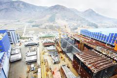 Shipping port, elevated view, GoSeong-gun, South Korea - stock photo