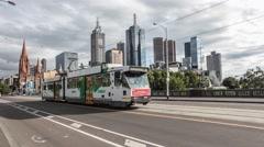 Wide shot of Princes Bridge in Melbourne CBD Stock Footage
