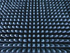 Anechoic chamber with radio frequency absorber material, close up - stock photo