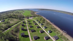 Sukhodolskoe lake from the height of bird flight Stock Footage