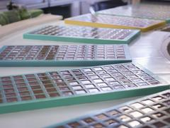Close up of moulded chocolates in chocolate factory Stock Photos