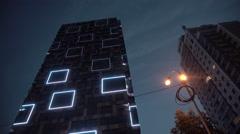 Amazing Skyscraper Building Light Show Stock Footage