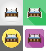 Bed furniture set flat icons vector illustration Stock Illustration