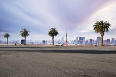 Empty street with cityscape and skyline of tokyo in romance sky Stock Photos