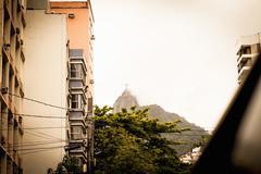 Low angle view of misty Christ the Redeemer, Rio De Janeiro, Brazil Kuvituskuvat