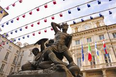 Piazza delle Erbe, seat of Turin City Hall and statue, Turin, Piedmont, Italy - stock photo