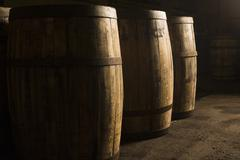 Wooden whisky casks - stock photo