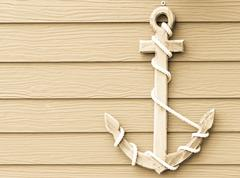 wooden anchor on wall vintage background - stock photo