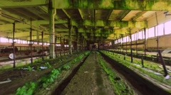 Steadicam. Old ruined barn Interior. Smooth motion. Abandoned building. - stock footage