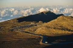 View of tourist  road and cars, Haleakala National Park, Maui, Hawaii Stock Photos