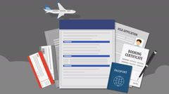 Travel Insurance for travel, tour. air ticket.passport,  illustration animation. - stock footage