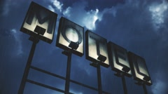 4K Lit Old Grungy Motel Sign in Strong Thunder Timelapse 1 Stock Footage