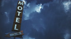 4K Old Grungy Motel Sign in Strong Thunder Timelapse 2 Stock Footage