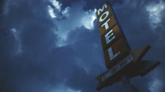 4K Old Grungy Motel Sign in Strong Thunder Timelapse 3 Stock Footage