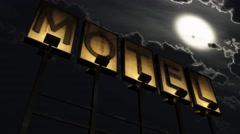 4K Old Grungy Motel Sign On the Road at Night 2 Stock Footage