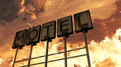 4K Old Grungy Motel Sign On the Road in a Wonderful Sunset v1 1  Stock Footage