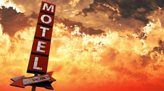 4K Old Grungy Motel Sign On the Road in a Wonderful Sunset v2 1 Stock Footage