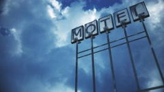 4K Old Grungy Motel Sign under Daytime Cloudy Sky Timelapse 1 Stock Footage