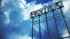 4K Old Grungy Motel Sign under Daytime Cloudy Sky Timelapse 2 stylized Stock Footage