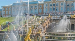Peterhof, Russia, king's palace and fountain grand cascade, surroundings of St.  Stock Footage