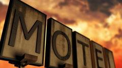 Old Grungy Motel Sign Closeup in a Wonderful Sunset v1 1 Stock Footage