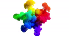 "Colored smoke explosion on white ""Spectrum"" Stock Footage"