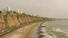 PERU: Aerial from LIMA with the coastline and the skyline of Miraflores Stock Footage
