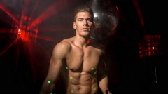 disco man sexy discoball topless party music muscular torso - stock footage