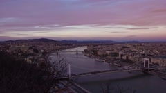 Sunset timelapse over Budapest from Gellert Hill, Hungary. Stock Footage