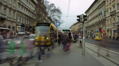 Timelapse of the Oktogon tram station, in Budapest, Hungary. Stock Footage