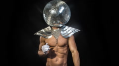 Disco man sexy discoball glitterball party music muscular Stock Footage