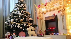 Room with Christmas tree and fireplace decorated garland Stock Footage