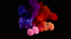 Colored smoke explosion on black Stock Footage