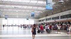 Tourists crowd walking in Alanya airport terminal Stock Footage