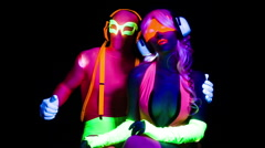 glow uv neon sexy disco female man cyber doll robot electronic toy - stock footage