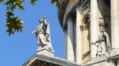 Statue of St Andrew on south facade of St Paul's Cathedral, London, UK - stock footage