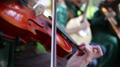 Close up view of man is playing on his violin at sunny day Stock Footage