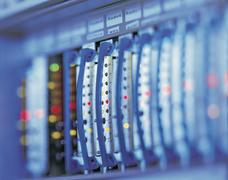 Telecommunication equipment, close up Stock Photos