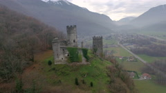 Albertville Castle Aerial pan around, French Alps, France Stock Footage