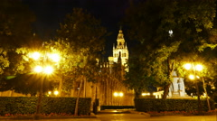 Cathedral of Saint Mary of the See at night, time lapse Stock Footage