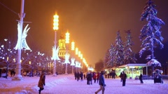 People are walking near main pavilion VDNKH and kiosks. Stock Footage