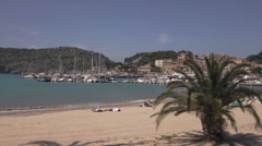 Travel along beach at Port of Soller, Mallorca, Spain Stock Footage