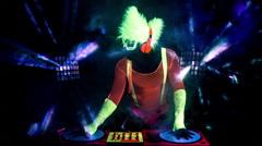 Glow uv neon sexy disco man party music dj Stock Footage