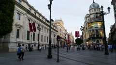 City shopping streets area in Seville, time lapse Stock Footage